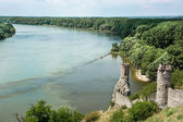 Maiden tower of Devin castle and confluence of the Danube with M — Stock Photo