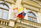 Slovak and Vatican flags on the building of the Great Seminary i — Stock Photo