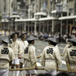 Постер, плакат: Men attempting to move Floats of Gion Matsuri
