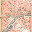 Paris old map — Stok fotoğraf