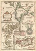 1747 North Atlantic islands map — Stock Photo