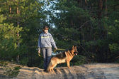 Teen girl with dog. — Stock Photo