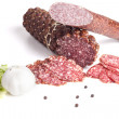 Salami and Garlic - Stock Photo