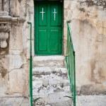 Green church door — Stock Photo