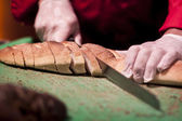 Slicing Bread — Stock Photo