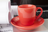 дымящегося кофе — Стоковое фото