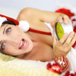 Female santa claus late for christmas night screaming — Stock Photo