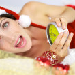 Screaming female santa claus — Stock Photo