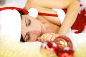 Closeup of beautiful santa claus sleeping relaxed — Stock Photo