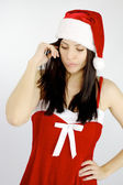 Female Santa Claus not sure about anything — Stock Photo