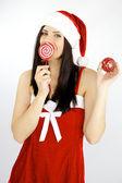 Happy funny female santa claus — Stock Photo