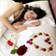 Happy woman with I love you message from lover — Stock Photo