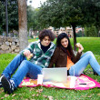 Beautiful couple surfing the web in park while having picnic in the summer — Stock Photo