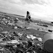 Ecological danger disaster on beach black and white — Foto Stock