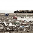 Terrible ecological disaster dirty beach — Stock Photo