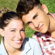 Happy beautiful couple smiling — Stock Photo #28588815