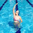 Stock Photo: Synchronized swimmer in pool exercizing