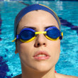 Woman swimmer concentrating before race — Stock Photo