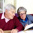 Senior couple reading bills at home — Stock Photo