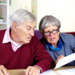 Senior couple reading bills at home — Stock Photo #41212263