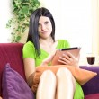 Business woman working at home with tablet — Stock Photo #43899381