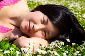 Smiling happy cute asian woman in spring — Stock Photo