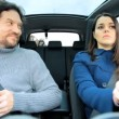 Husband and wife in car — Stok video #45636513