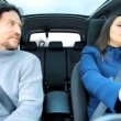 Husband and wife in car — Stok video #45924287