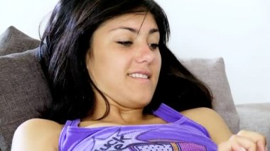Woman Texting With Tablet At Home — Vídeo de Stock