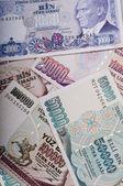Mixed thousands liras banknotes old turkish lira around 1990s — Stock Photo