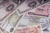 Mixed liras banknotes old turkish lira around 1970s — Stock Photo