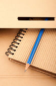 Notepad, pencil and paper folder — Stock Photo