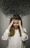 Headache. Obsession. Dark thoughts. — Stock Photo
