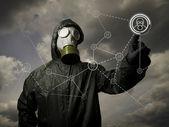 Plynová maska. sociální síť — Stock fotografie