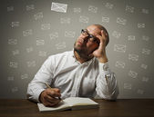 Man in white and letters — Stock Photo
