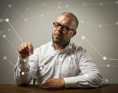 Businessman and a graphs — Foto Stock