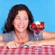 Woman and dessert — Stock Photo