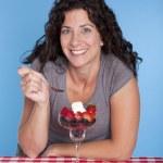 Woman and dessert — Stock Photo