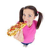 Woman eating pizza — Stock Photo