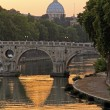 Sunset on the Tiber and Saint Peter, Rome - Stock Photo