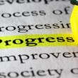 Word progress highlighted with a yellow marker — Stock Photo #18361421