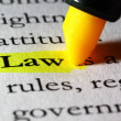 Word law highlighted with a yellow marker — Stock Photo