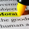 Word moral highlighted with a yellow marker — Stock Photo