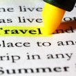 Royalty-Free Stock Photo: Word travel highlighted with a yellow marker