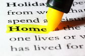 Word home highlighted with a yellow marker — Stock Photo