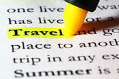 Word travel highlighted with a yellow marker — Stock Photo