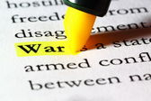 Word war highlighted with a yellow marker — Stock Photo