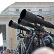 Photographers with long telephoto waiting for Pope Francis I — Stock Photo