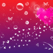 Love background with hearts, butterflies, flowers and bubbles — Stock Photo