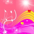 Abstract pink and red background with hearts, sun and plants — стоковое фото #39982905